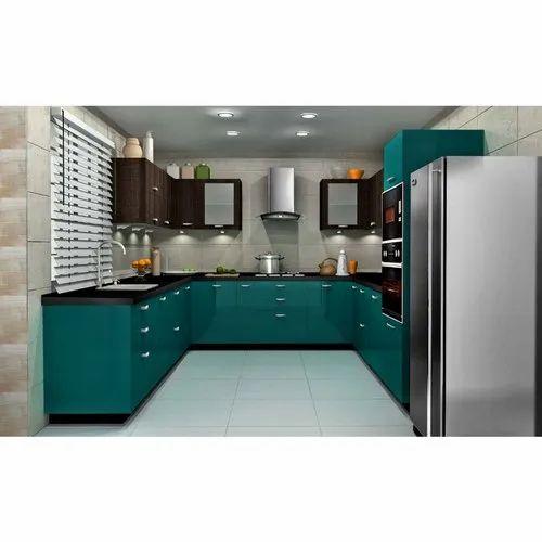 Sleek World PVC Designer U Shaped Modern Kitchen, Kitchen Cabinets