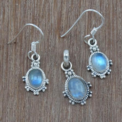 Rainbow Moonstone 925 Sterling Silver Jewelry Set