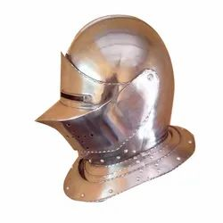 Mild Steel Silver Mantelhelm Helmet for Movies