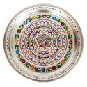 Silver Peacock Designed SS Meenakari Decorative Puja Thali