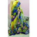 Linen Digital Print Saree, Length: 6.3 M