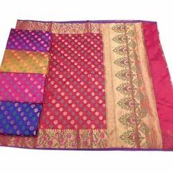 Party Wear Semi Dupin Poly Cotton Saree