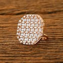 Cz Classic Ring With Rose Gold Plating 62786 For Engagement