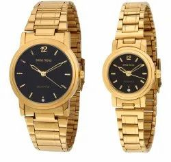Brass Black Dial Analogue Couple Watch, Packaging: Box