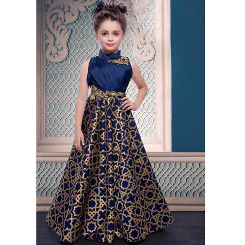 97fb61fbb189 Multicolor Jacquard Designer Kids Gown