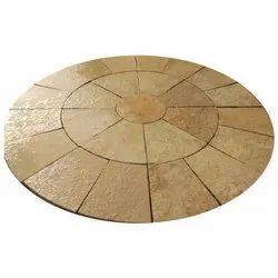 Yellow Circle Pattern Stone, For Flooring, Thickness: 25-30MM