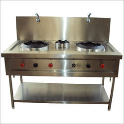 Stainless Steel Lpg 3 Burner Chinese Range Gas Stove, 304, Model Name/Number: VSC-03