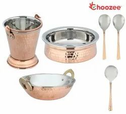 Choozee - Copper/Steel Serving Item Set of 6 Pcs (Including Bucket, Handi, Kadhai and Serving Spoons