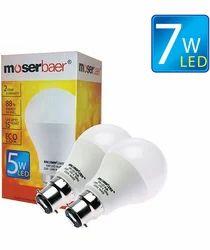 7W ECO LED Bulb B22 Pack of 2 Cool White