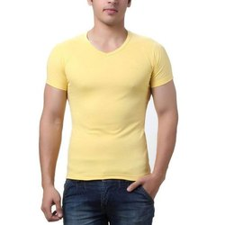 Mens Cotton V Neck Solid Colored Casual T Shirt