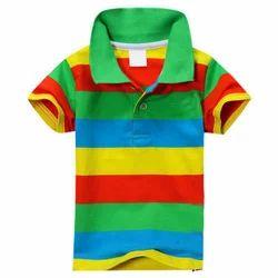 Cotton Casual Wear Kids Stripped Polo T Shirt