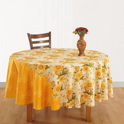 Swayan Yellow Sunflowers Round Table Linen