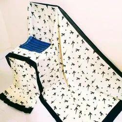 Print Party Wear Mulmul cotton saree, With blouse piece, 6*5m