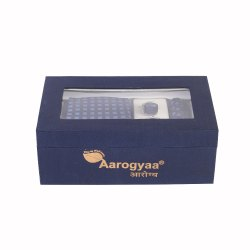 3 Pc Men''s Designer Blue Color Checks Aarogyaa Micro Zacard Silk Tie Neck Set Cuff Links Scarf