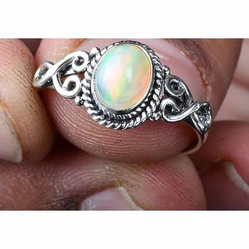 Flashy Opal Stone | Statement Ring Opal Ring Welo opal 925 Silver Ring Ethiopian Opal Gemstone Stackable Ring Signet Ring