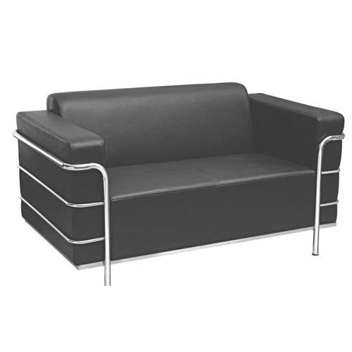 Two Seater Black Leather Sofa Model Du 505