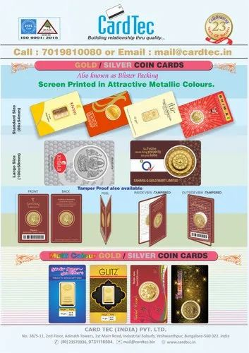 ALL TYPES OF COIN PACKING CARDS