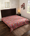 Cotton Throws Kantha Work Bird Printed Quilted Bedspread Bed Sheet