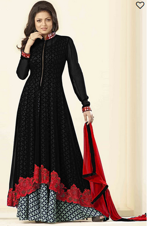 0eaaceba1b Chiffon Black Georgette Embroidered Semi-stitched Salwar Suit, Rs ...