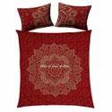 Red Gold Floral Mandala Duvet Doona Quilt Cover