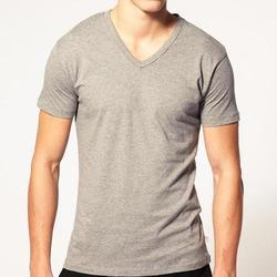 Grey Cotton Men's Casual T Shirt