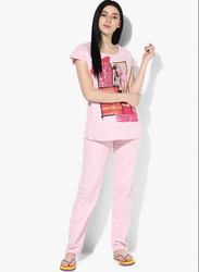 Light Pink Printed Casual Lower Set