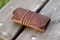Black Leather Tobacco Pipe Bag
