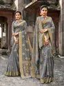 Grey Banarasi Jute Linen Saree  With Blouse Piece