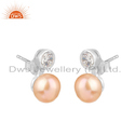 White Rhodium Plated CZ Natural Pearl Earring