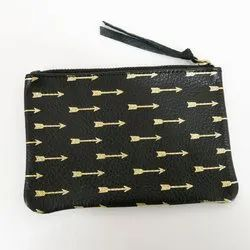 Leather Black Golden Ladies Coin Pouch