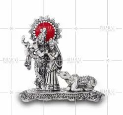 Silver Plated Radha Krishna Statue with Cow
