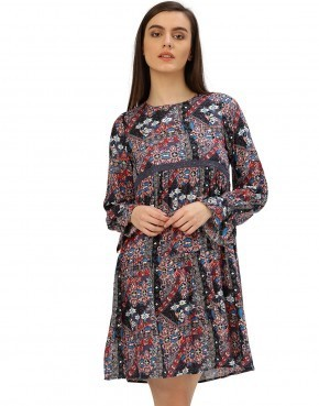 Women Rayon Floral Print Multicolor Dress
