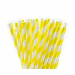 Yellow Striped White Paper Straw