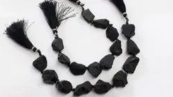 Black Spinal Raw Stone Matte Finished Drilled Holed Gemstone Beads