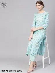 NAYO Pastel Blue 3/4th Sleeve Cotton Straight Kurta with Printed Pant