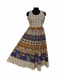 Multicolor Midi Dress Cotton Jaipuri print maxi, Dry Clean, Size: Free Size