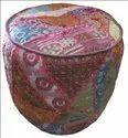Handmade Khambadiya Cotton Round Ottoman