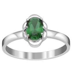 925 Sterling Silver 7X5 MM Oval Green Glass Solitaire Dainty Ring