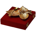 Gold Plated Brass Three Leaves Tray With Spoon