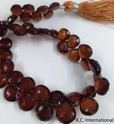 Hessonite Garnet Briolette Heart Gemstone Faceted Beads