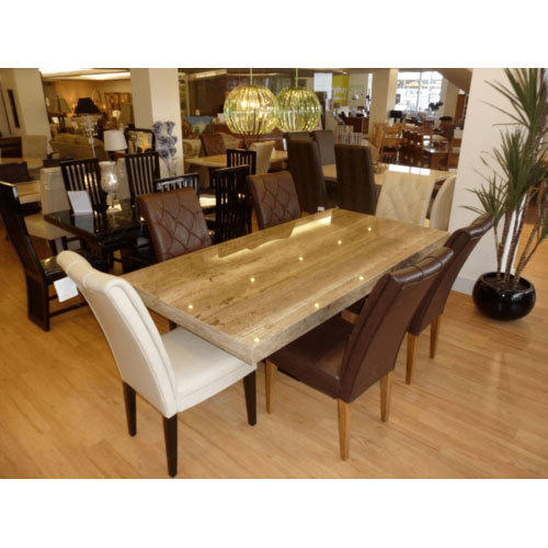 Granite Dining Table Set: Brown And Weight Granite Top Dining Table Set, Rs 75000