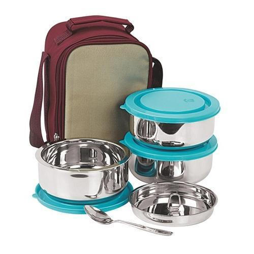 182a75a452e Multicolor Airtight Steel Lunch Box