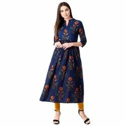 Casual Wear 3/4th Sleeve Ladies Jaipuri A-Line Cotton Kurti, Handwash