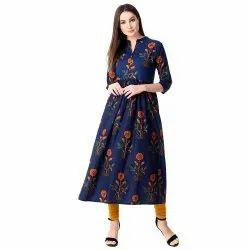 Casual Wear 3/4th Sleeve Ladies Jaipuri A-Line Cotton Kurti, Handwash