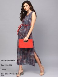 Blue & Red Printed Sleeveless Maxi