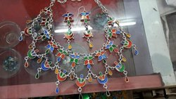Ladies Designer Silver Necklace With Earrings
