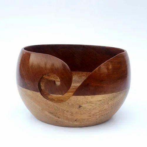 Wood Brown Sheesham Mix Mango Yarn Bowl