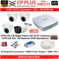 CP Plus CCTV Camera - 4 HD Camera Bundle kit
