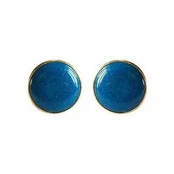 Gold And Blue 92.5 Sterling Silver Unisex Cufflinks