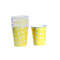 Yellow And White Paper Dot Printed Disposable Cup, Capacity: 65 Ml, For Event And Party Supplies